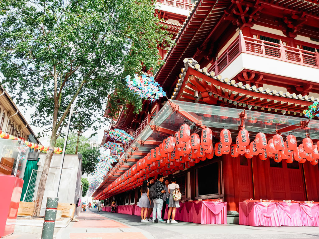 buddha tooth relic temple with many lantern