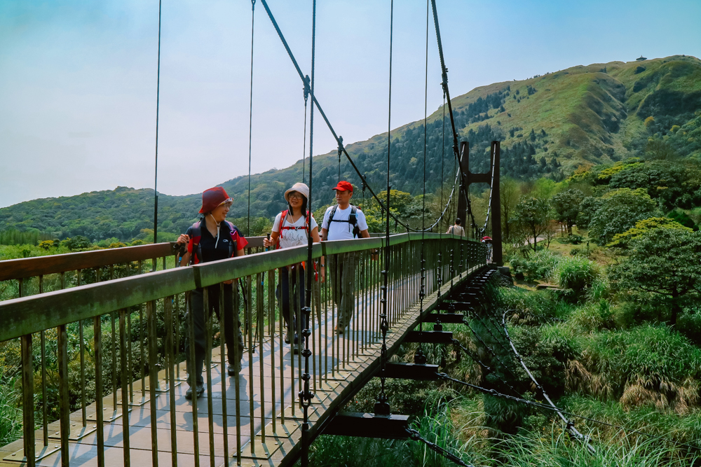 Hanging bridge in Yangmingshan National Park Taiwan