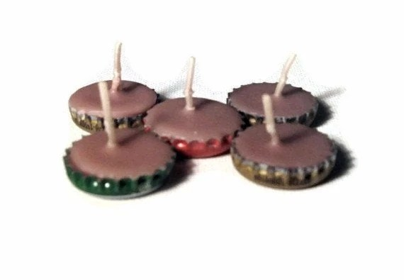 Mini candles in bottle caps