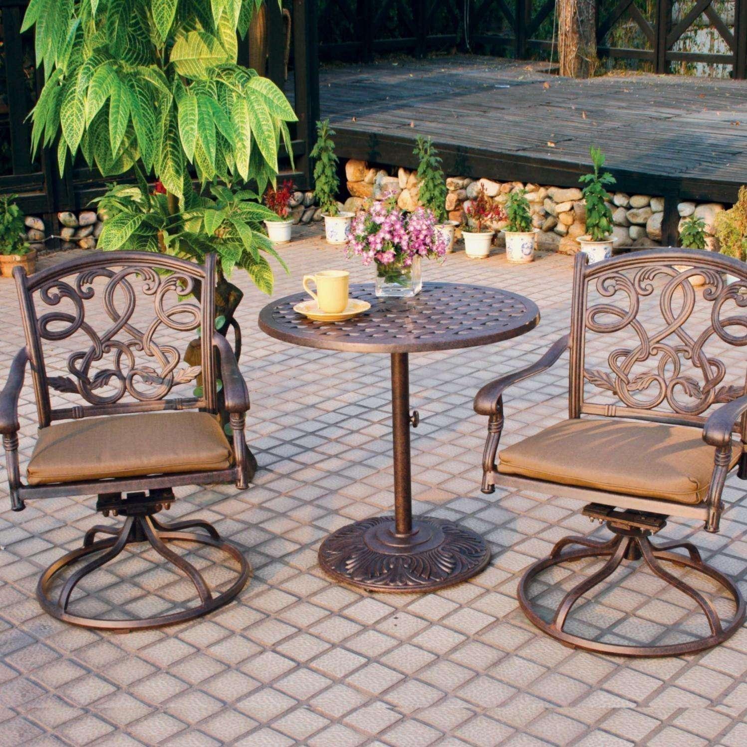 darlee santa monica 3 piece cast aluminum patio bistro set with swivel rockers