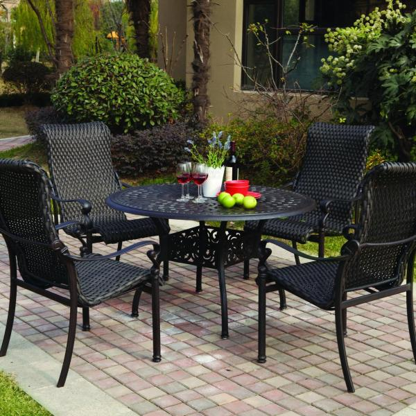 resin wicker patio furniture sets Darlee Victoria 5 Piece Resin Wicker Patio Dining Set