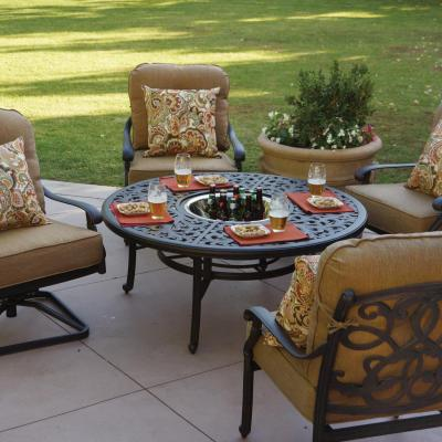 Darlee Santa Monica 5 Piece Aluminum Patio Fire Pit Set