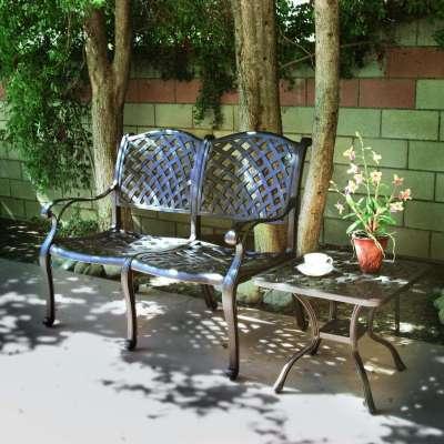 Darlee Nassau 2 Piece Aluminum Bench Conversation Seating Set