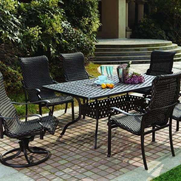 7 piece outdoor wicker patio dining sets Darlee Victoria 7 Piece Resin Wicker Patio Dining Set