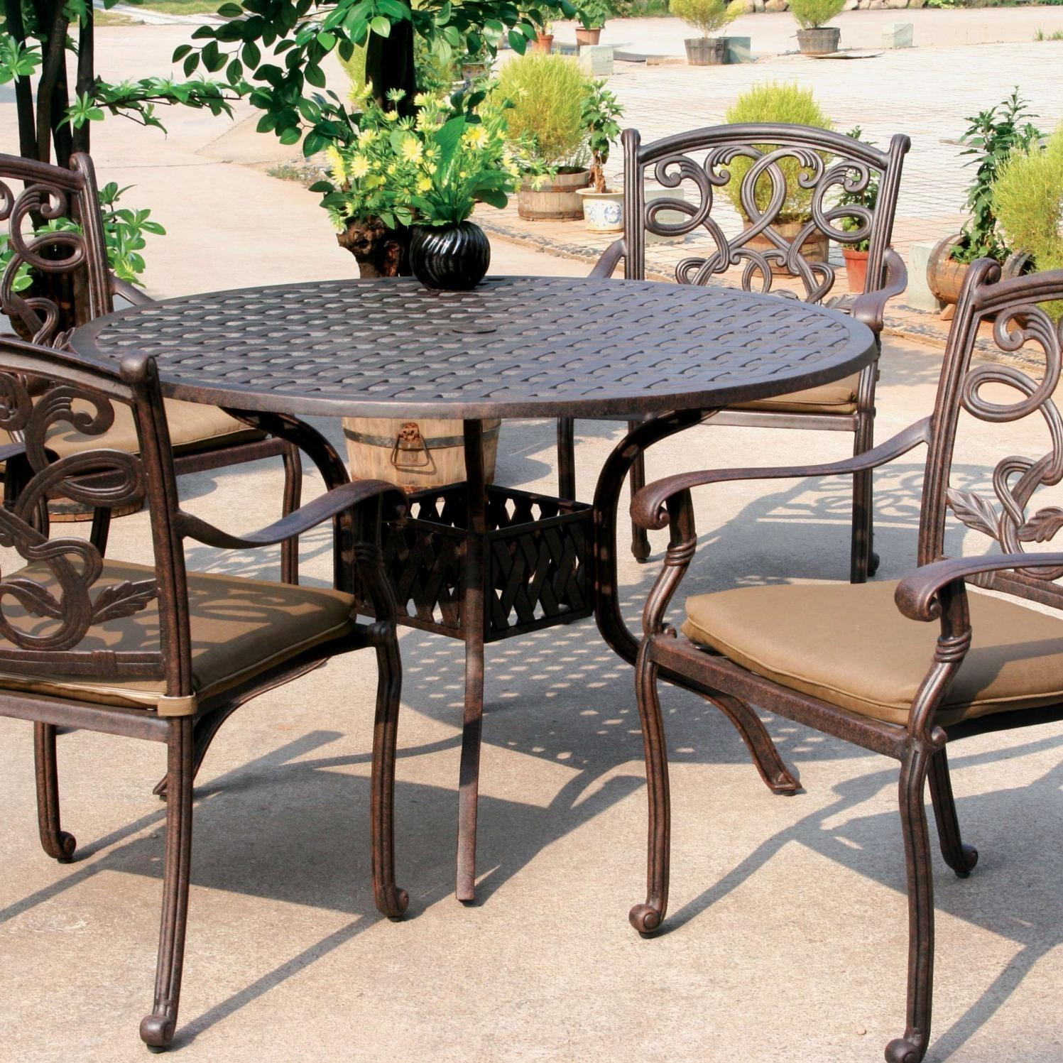 darlee santa monica 5 piece cast aluminum patio dining set