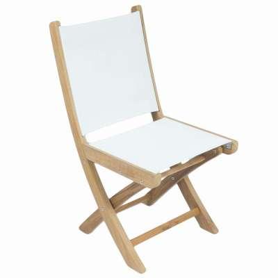 Royal Teak Collection White Sailmate Folding Side Chair - SMSW