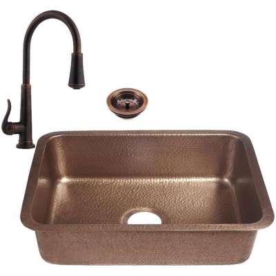 RCS 23 X 17 Copper Undermount Sink Plus Faucet