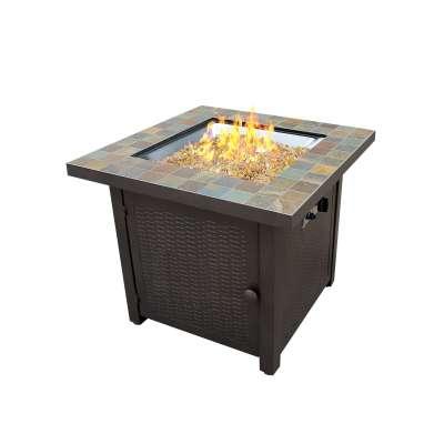 AZ Patio Heaters Square Slate Fire Pit