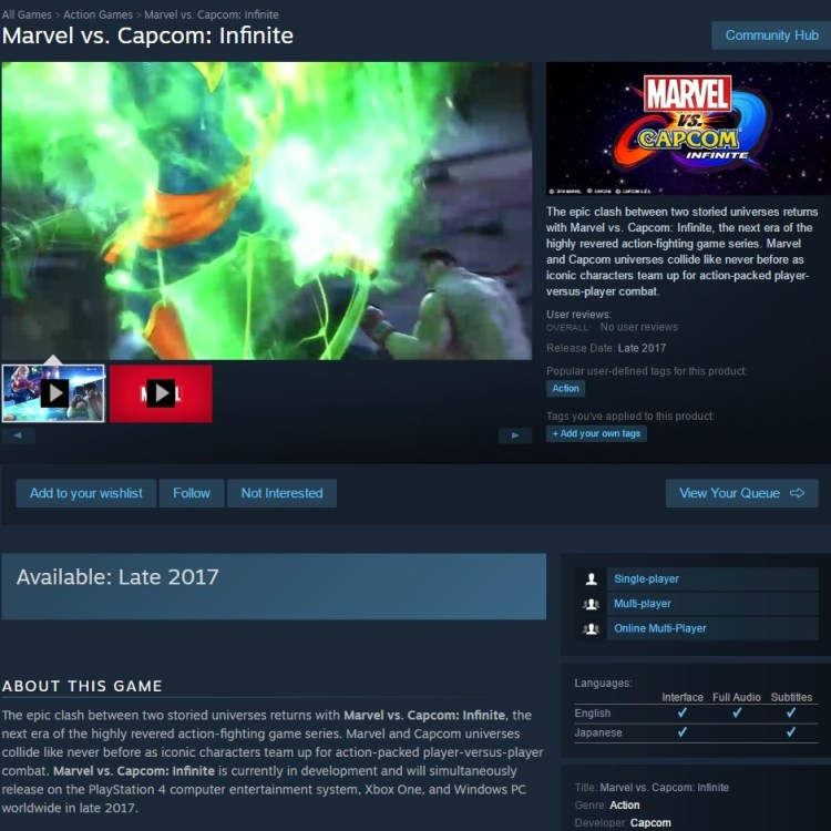 marvel-vs-capcom-infinite-steam-page