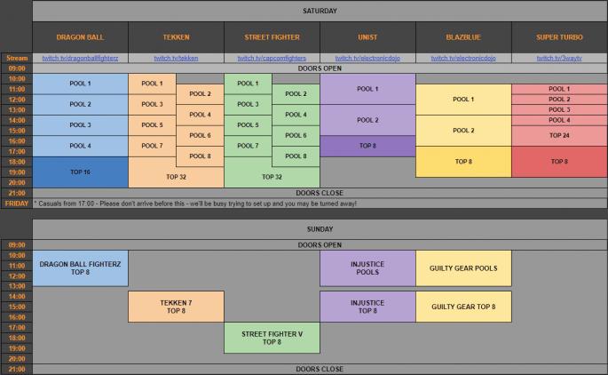 VS Fighting 2018 schedule.