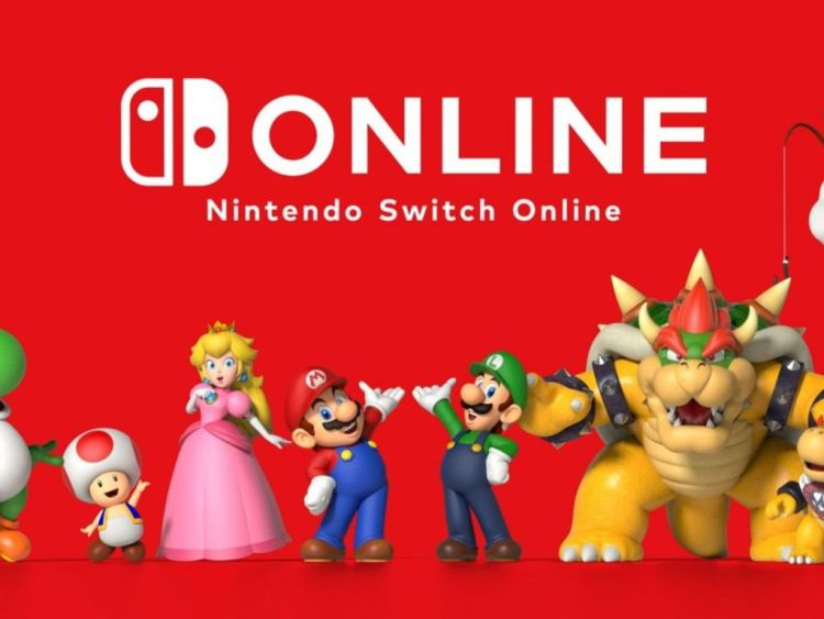nintendo switch online logo with nintendo charcters