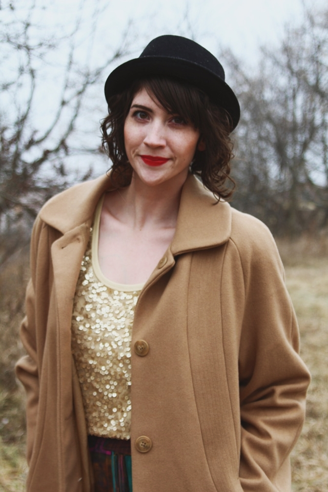 hannah rupp the outfit repeater sequin holiday outfit idea christmas winter snow vintage
