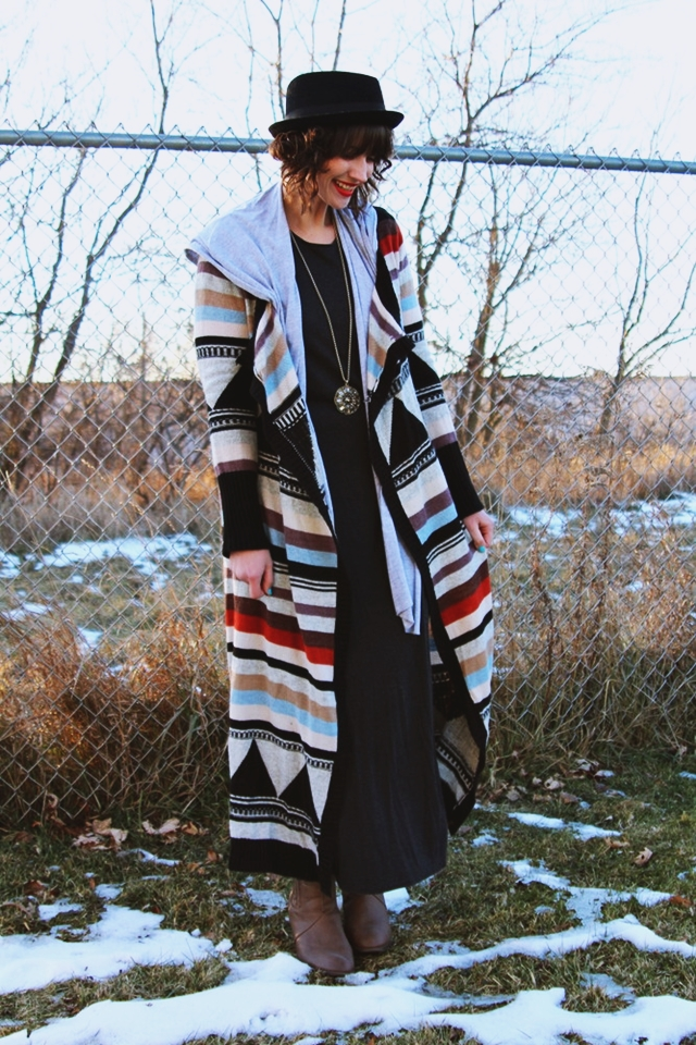 hannah rupp the outfit repeater duster cardigan outfit striped warm sleeping pajamas winter maxi dress