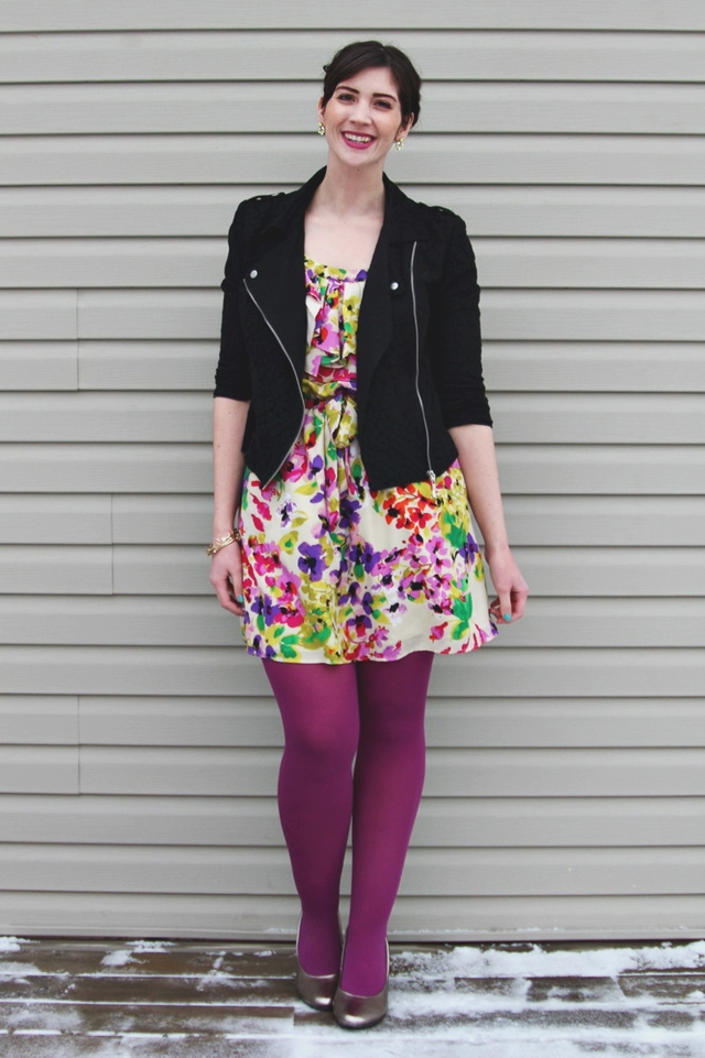 hannah rupp the outfit repeater floral dress flirty valentines day winter moto jacket