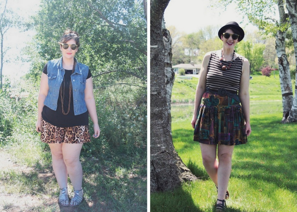 summer outfit ideas leopard print shorts and denim vest, vintage skirt and striped tank top