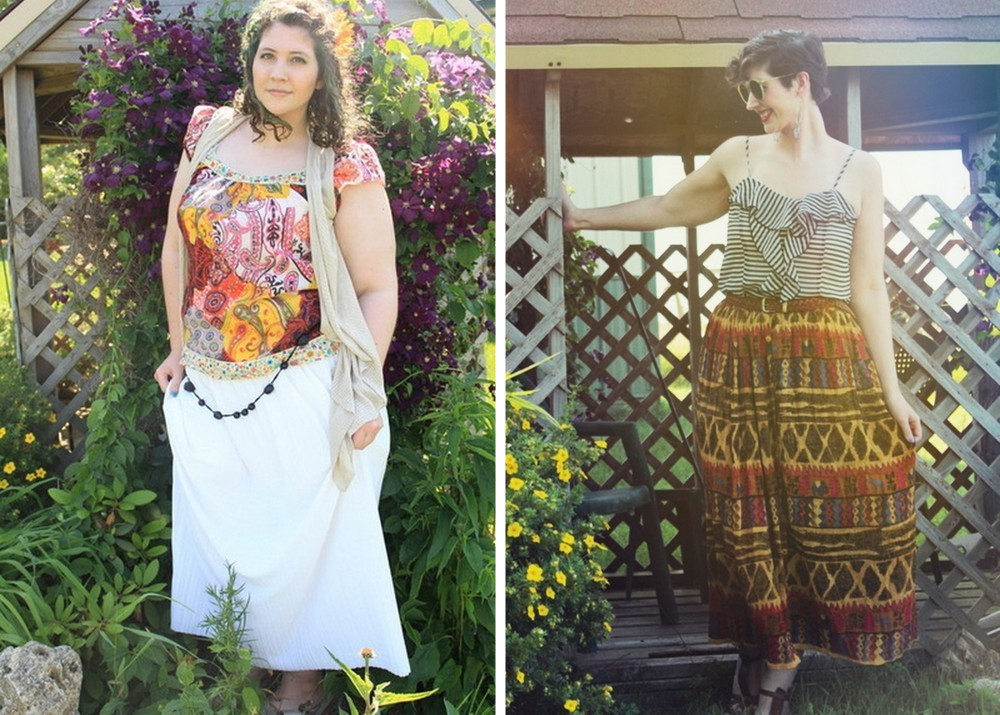 summer outfit ideas white maxi skirt and paisley tee, printed skirt and striped tank top