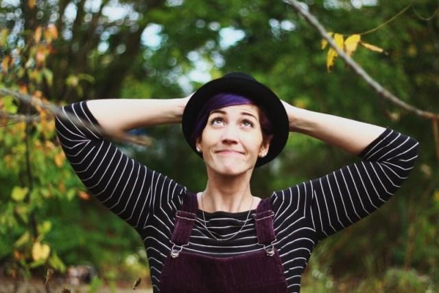 Outfit details: Black & white breton striped top, purple corduroy dress, black pork pie hat,