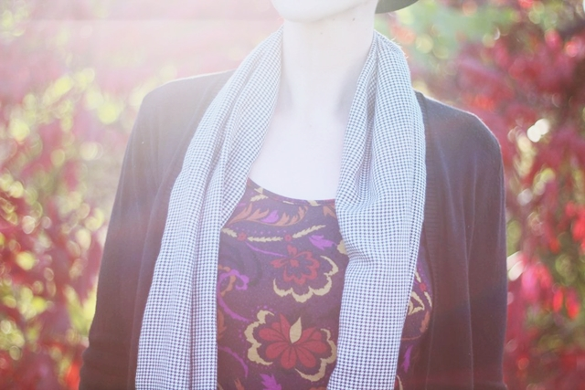 Outfit details: purple autumn leaf print dress thrifted, black and white houndstooth infinity scarf, long black Wal-Mart cardigan