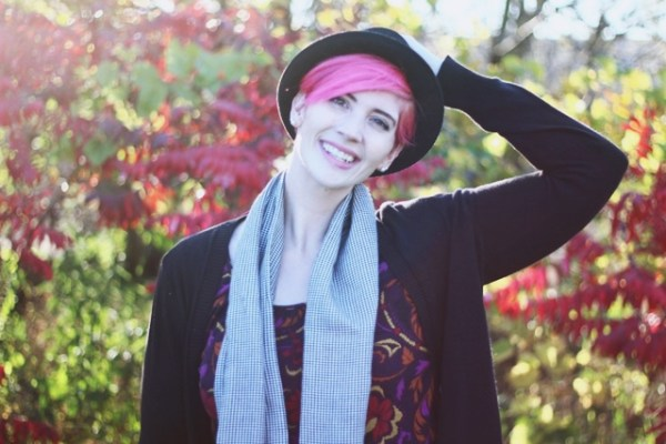 Outfit: autumn leaf print purple dress, long black Wal-Mart cardigan, houndstooth infinity scarf, black ASOS pork pie hat, bright pink pixie cut
