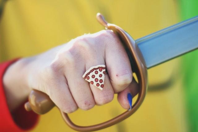 Halloween costume detail: handmade pepperoni pizza ring