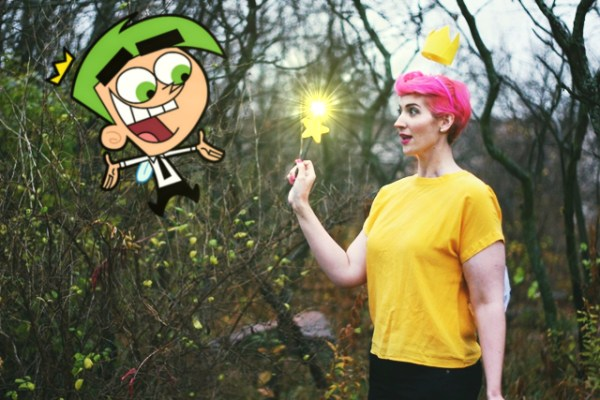 Fairly OddParents Wanda Halloween costume, pink pixie cut, floaty crown, magic wand, cartoon Cosmo