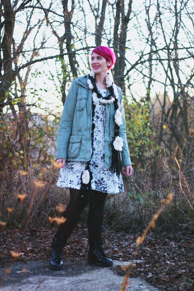 outfit: black and white floral dress, olive colored jacket, black tights, black fake doc martens, flower scarf, magenta pixie cut
