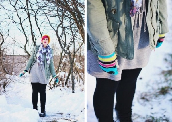 Outfit: outerwear for winter, gray sweatshirt dress, black leggings, olive green utility jacket, black Doc Martens, yellow hat, bright pink hair