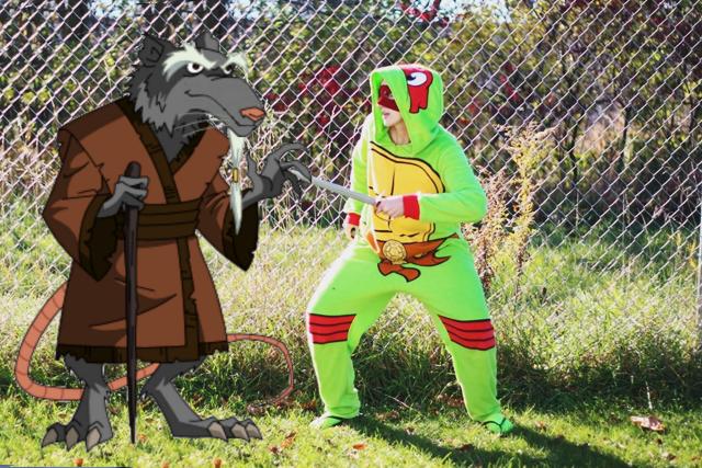 Halloween Costume: Teenage Mutant Ninja Turtle onesie from Wal-Mart