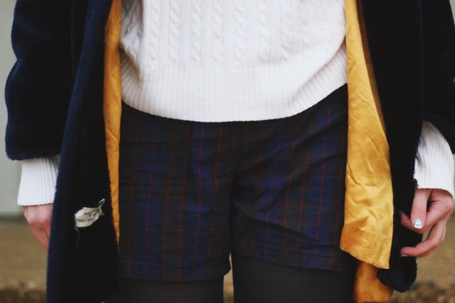 Outfit detail: vintage furry blue coat, oversized white sweater, high waisted plaid shorts, navy blue tights