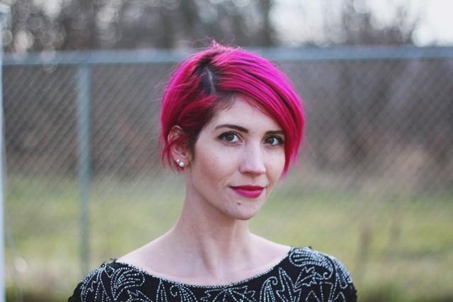 magenta rose pink pixie hair cut dark roots purple lipstick