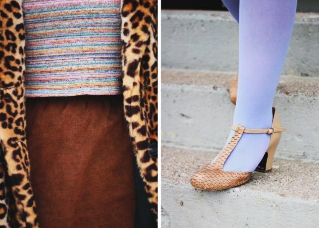 Outfit details: striped crop top, brown suede skirt, leopard print coat, lavender tights, beige t-strap high heels