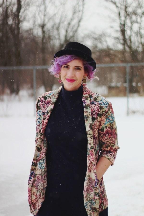 Pretty In Pink inspired volcanic ensemble: Black mockneck bodycon dress, vintage floral blazer, black pork pie hat, 80s-era statement earrings, ultra violet manic panic mermaid hair