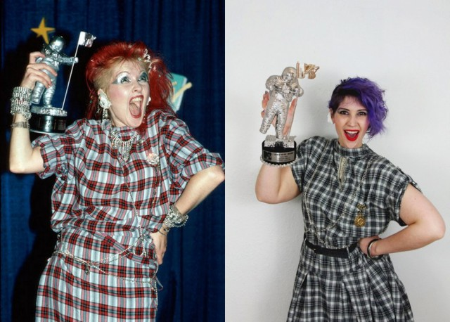 A Cyndi Lauper look inspired by 1980's fashion, curly purple hair red lipstick, plaid dress, 1984 MTV Video Awards