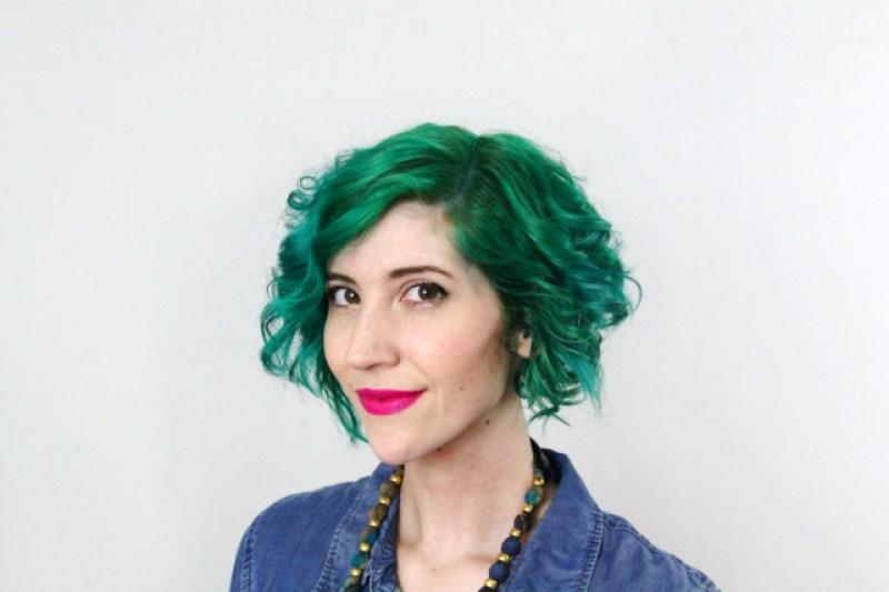 Green hair by Pravana Vivids and fuschia lipstick by YSL