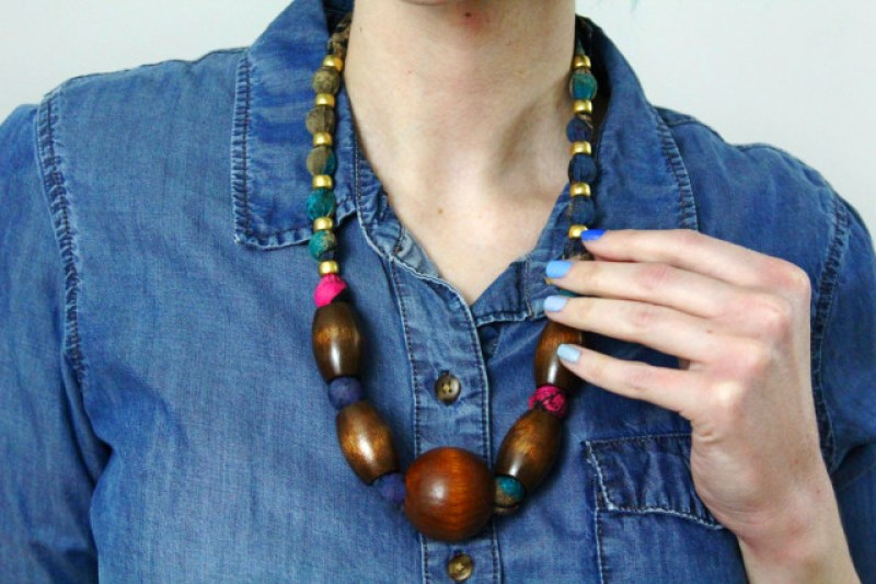 Outfit details: chambray button up, thrifted wooden necklace and blue ombre mani