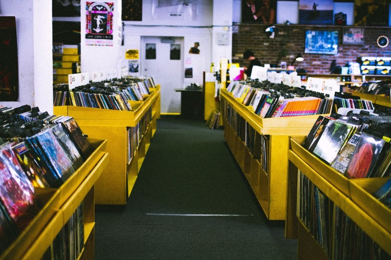 Secondhand store selling records stock photo