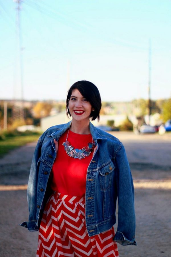 Outfit: Vintage red top, DIY puzzle piece necklace, red lipstick, thrifted orange chevron skirt, vintage denim jacket