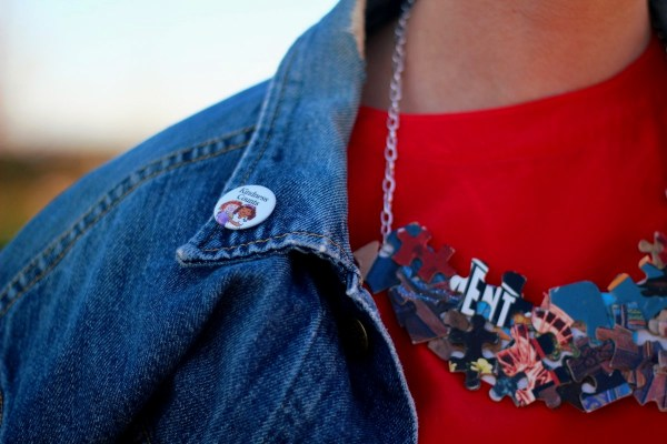 Outfit details: American Girl grin pin on vintage denim jacket, red blouse, DIY puzzle piece necklace