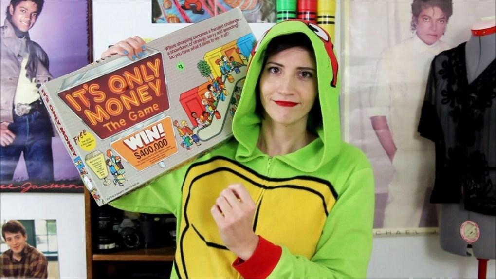 Vintage It's Only Money board game, TMNT onesie, October thrift haul video