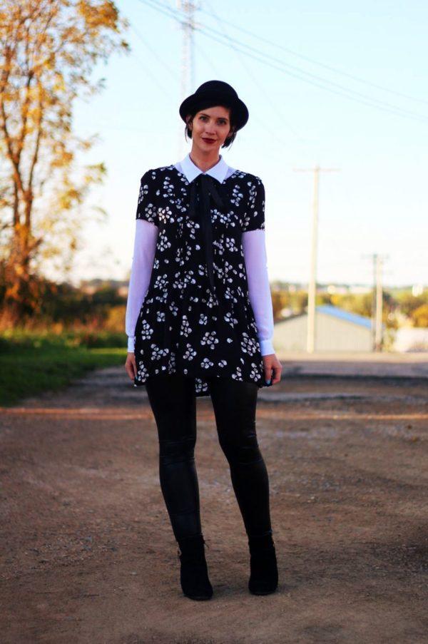 Outfit: Skull and crossbone dress, white button down, DIY ribbon, pork pie hat, dark lipstick, liquid leggings, black heeled booties
