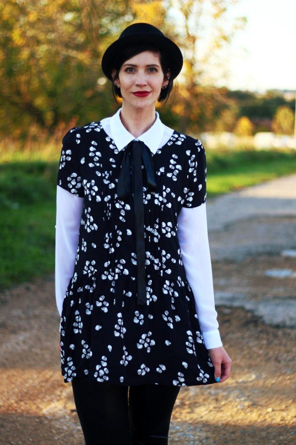 Outfit: Skull and crossbone dress, white button down, DIY ribbon, pork pie hat, dark lipstick