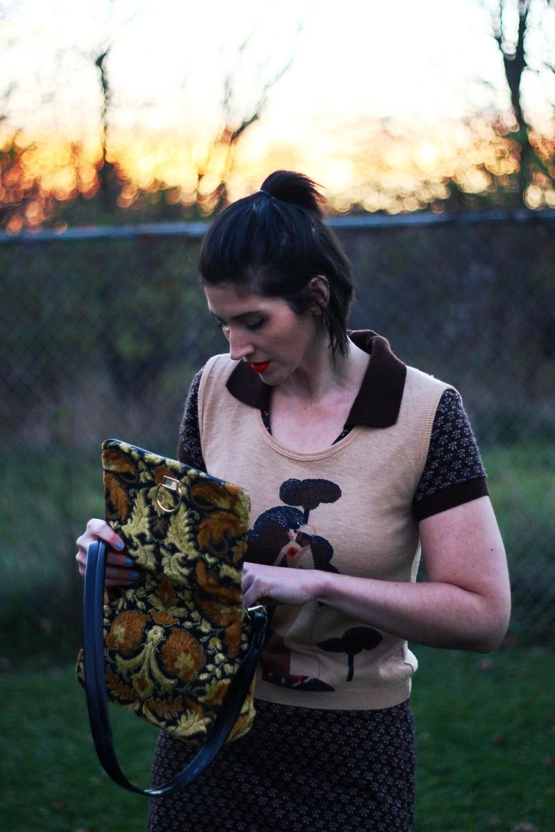 Outfit: Brown mini dress, vintage vest, orange lipstick, ugly yellow purse