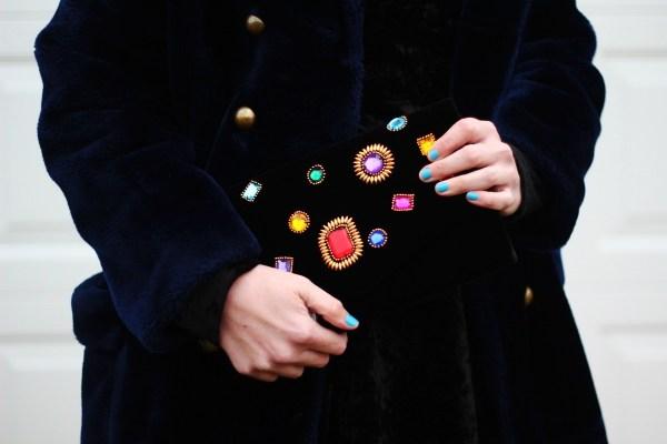 Outfit details: vintage navy blue faux fur coat, embellished black clutch