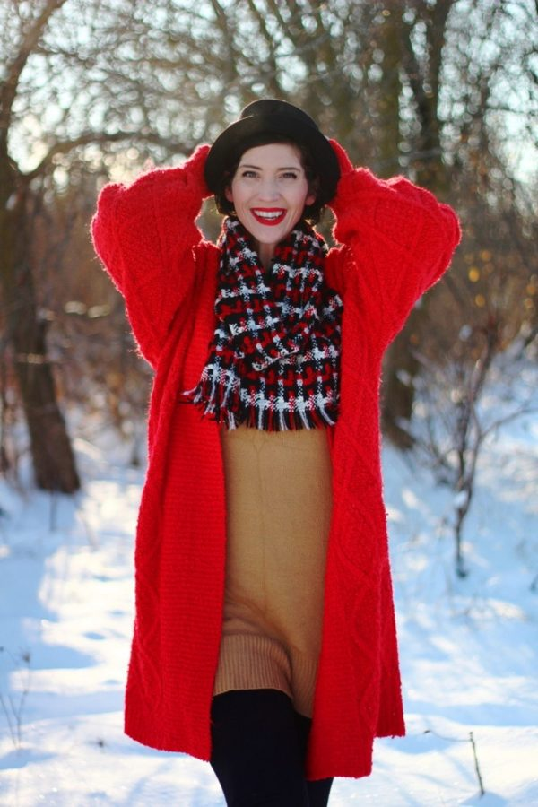 1980s John Hughes inspired outfit oversized red cardigan winter