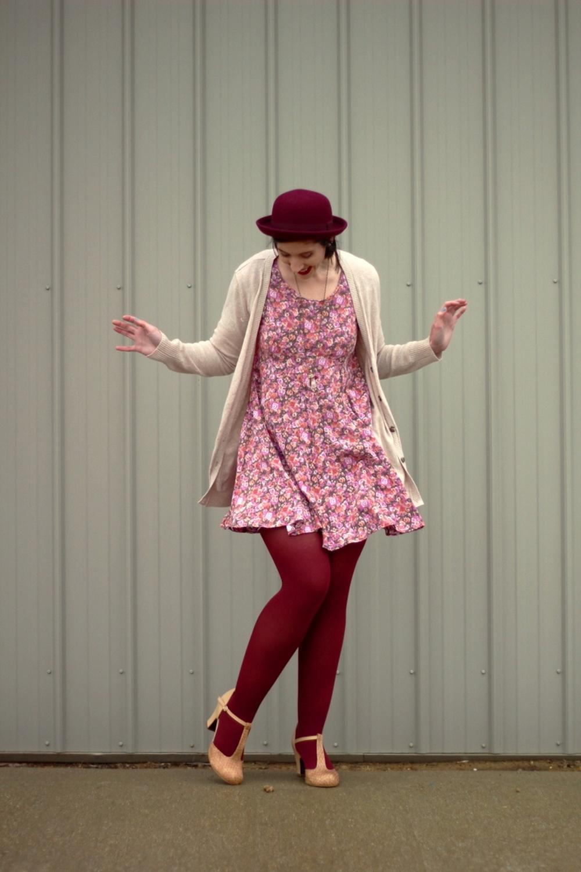 Valentine's Day outfit Thrifted floral dress, beige cardigan, bowler hat, dark lipstick, maroon tights, beige t-strap style high heels