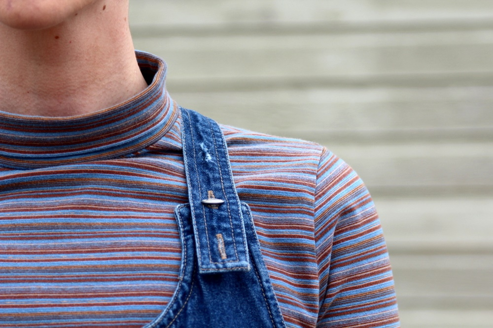 Hannah Rupp, The Outfit Repeater, Thrifted striped turtleneck, denim overall jumper dress