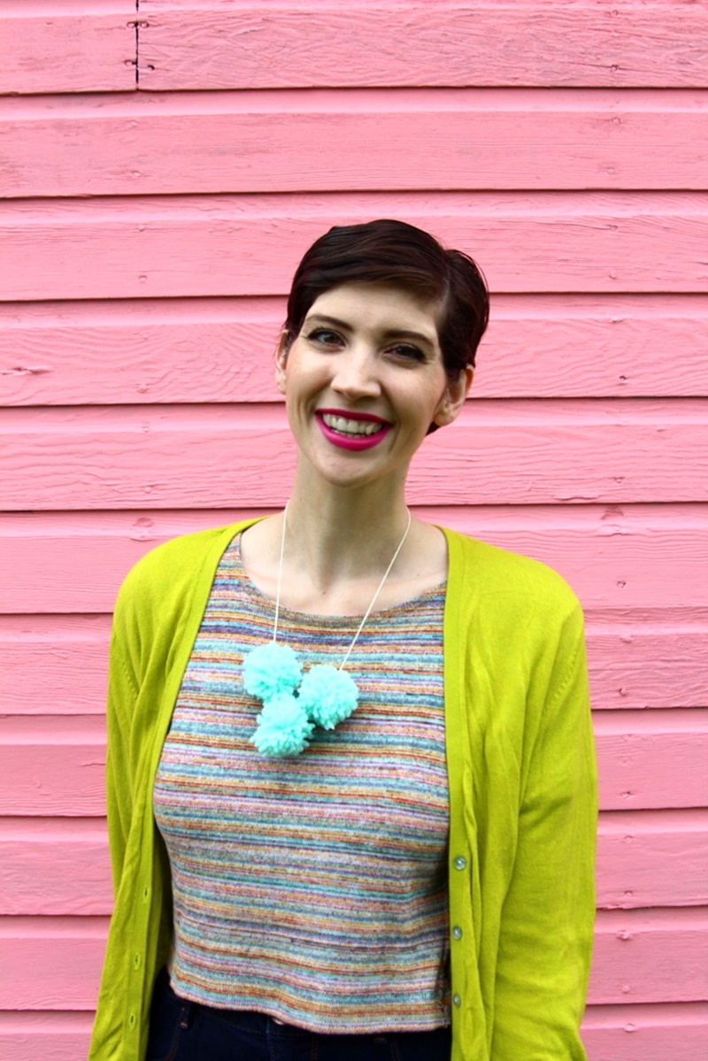 pink wall house garage, outfit lime green cardigan, rainbow crop top, high waisted jeggings american eagle sky high, brown cognac target lace up flats ballerina, diy pom pom necklace, colourpop heart on lippie stix, diy clutch purse makeup bag
