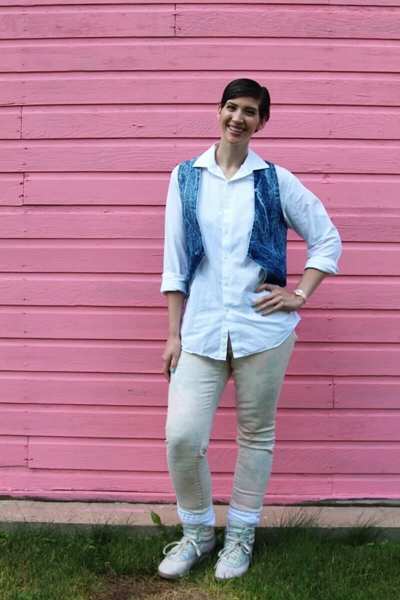 Back to the future costume, Jennifer Parker inspired look, white button down, denim vest, pink floral jeans, Reebok high top sneakers, white scrunched socks, pink Swatch watch