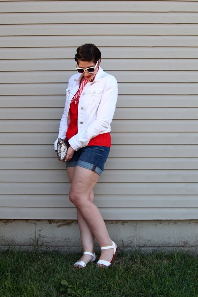 #thriftstylewatch summer fashion challenge, people style magazine inspired outfit, red off the shoulder top, jean shorts trend, white lulus sandals, mac ruby woo lipstick, denim jacket, pixie hair cut, silver sequin clutch, dollar store sunglasses, neck scarf
