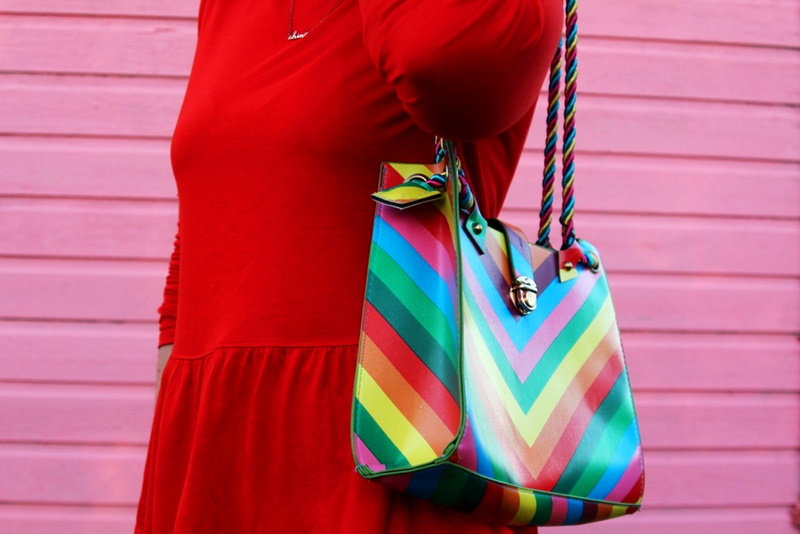 colorful outfit hannah rupp the outfit repeater pink wall rainbow purse handbag thrifted thredup white jacket skinny jeans red peplum top aqua turquoise sunglasses unique one of a kind personal style fashion